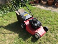Petrol lawnmower Red Fox brand with a Briggs and Stratton engine. This mower has just been serviced