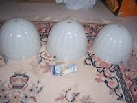 Set of three general store light fixture shades