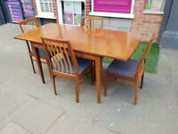 Mid Century Teak Extending Dining Table & Four Chairs - Retro / Vintage