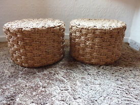 PAIR OF BEAUTIFUL BASKET WOVEN SOLID WOOD FRAMED FOOT STOOLS/POUFEE/SEATS