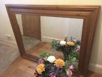 Large wall mirror with solid wood frame