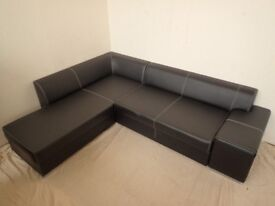 Black Leather Corner Sofa, Pull Out bed