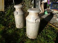 2 x Vintage milk churns