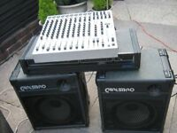 P A System with Carlsbro amp and speakers