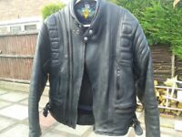 AKITO black leather motorcycle jacket size GB 42 circa late 80`s early 90`s