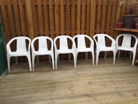 Plastic white garden chairs 6