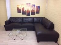 Elegant Large Brown Leather Corner Sofa