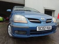 02 NISSAN ALMERA TINO 1.8,MOT AUGUST 017,3 OWNERS FROM NEW,2 KEYS,VERY RELIABLE FAMILY MPV