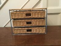 Letter tray.wicker with three drawers
