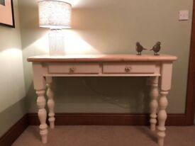 HAND PAINTED FURNITURE - LARGE SOLID PINE CONSOLE HALL TABLE PAINTED CREAM CHALK PAINT WAX FINISH
