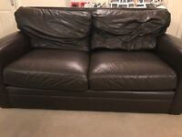 3 Seater Brown Leather Sofa - good clean condition, no tears in leather. Buyer must collect by 23/01