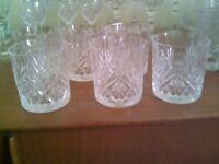 6 vintage Crystal Edinburgh whisky glasses