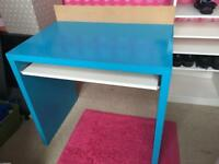 Turquoise kids desk with shelf