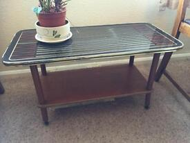 Retro style glass top coffee table