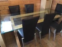 Maple & glass dining room table & chairs
