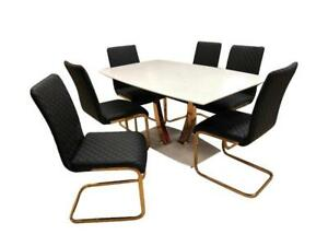 Black dining table + 6 chairs with golden legs on Sale (BD-1752)