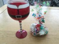 Mr Claus wine glass with Christmas sweets