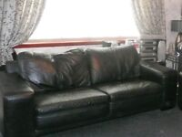 black leather 3 seater sofa slight wear on cushions