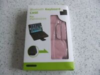 NEW - iPad Mini case with bluetooth keyboard, fits iPad 2/3/4. Pink PU leather
