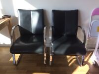 4 x office chair leather black used