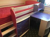 Highbed with desk and drawer