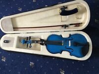 Childs 1/2 blue violin with carry case used good clean condition