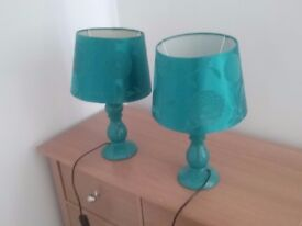 A pair of flowery teal lamps and matching celing shade