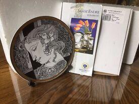 Endre Szasz for Hollohaza PORCELAIN Plate 21K Gold Gilt