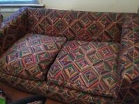 Sofa, Old second-hand to go. 158cmW x 52cmDx70cmH at arms No Flame Retardant Label