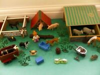 wooden toy farm set 14 plastic toy animals trailer accessories & more