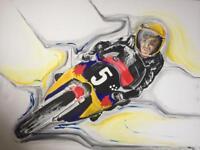 Original painting in acrylics, motorbike racing