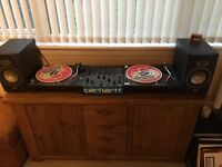 2 x Technics 1210s MK-2 + Pioneer DJM-600 + pair Tannoy pre-amp speakers