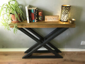 Unique bespoke design console table made from reclaimed wood