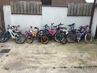 Job lot of 16 bikes needing repairs