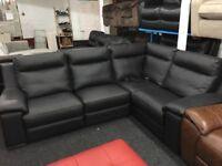 New/Ex Display Leather Serento Black Leather Recliner Corner Sofa (left or right hand Corner)
