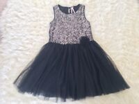 Black Next sequinned party dress - Age 10, as new