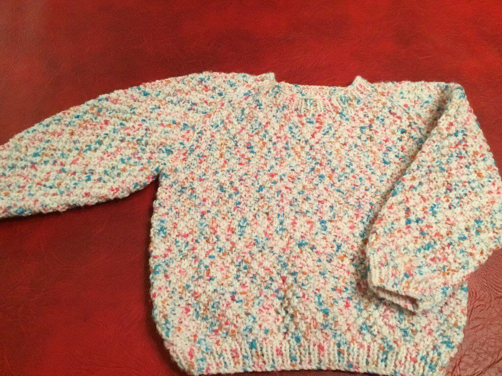 Girl's Hand Knitted Jumper, Mixed Colours, NEW