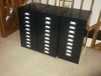 3 x BISLEY STYLE, 10 MULTI DRAWER OFFICE FILING CABINETS, BLACK