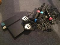 PS2 with controller and 4 sing star microphones