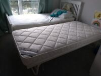 White wooden single bed with underbed, almost new.