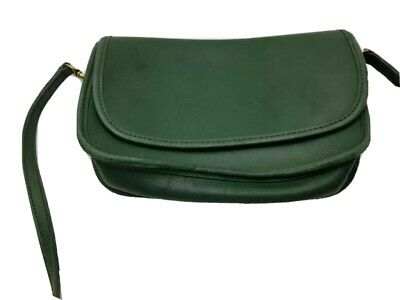 Coach Womens Shoulder Bag Green Leather Flap Handbag Glove Tanned Cowhide USA