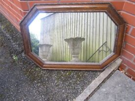 Antique Vintage 8 Sided Beveled Mirror Beaded solid Wood Frame 1930,s