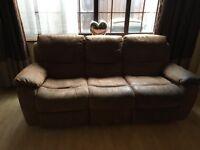 Brown faux suede sofa