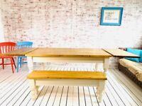 Extending Table Any Sizes - Any Farrow & Ball Antique Finish Farmhouse Pine Dining Table