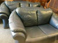 Blue leather 3 seater and 2 seater sofas can deliver