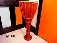 "Genuine African Hand Made Djembe Drum / Bongo / 12.5"" x 32"" (32cm x 81"