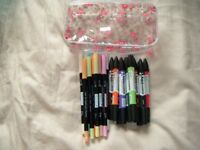 WATERCOLOUR MARKER PENS (two sets) for craft activities