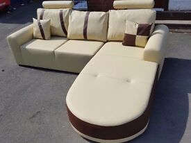 Fantastic BRAND NEW cream and brown leather corner sofa.modern design.can deliver