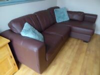 DFS Corner Brown Leather L Shaped Sofa - Free Delivery In Southampton