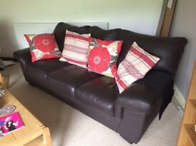 Leather sofa. Brown colour.